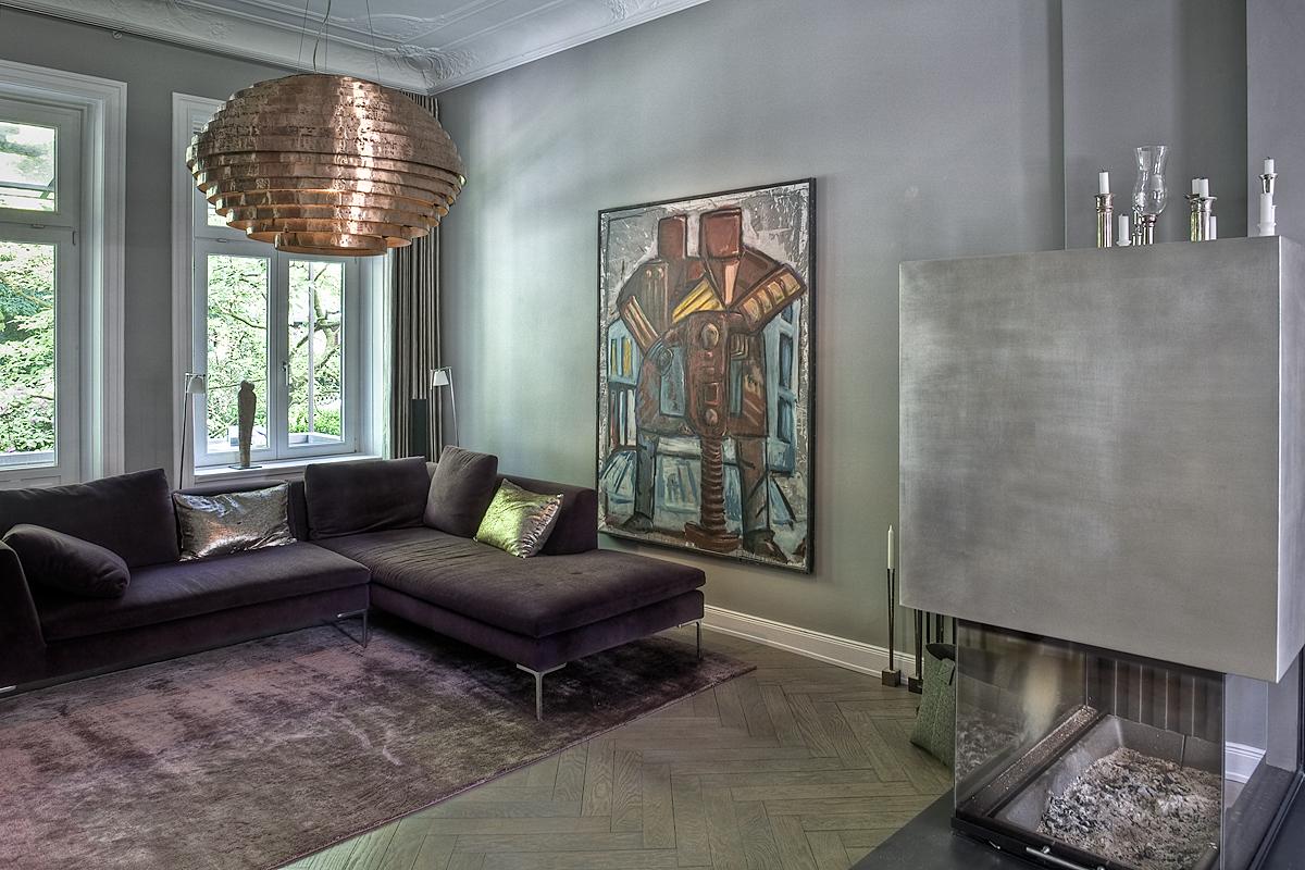 Stadtvilla Hamburg, Wohnbereich: Farbberatung, Gestaltung der Oberflächen, Licht (Nachbau Retrolampe in passender Größe)
