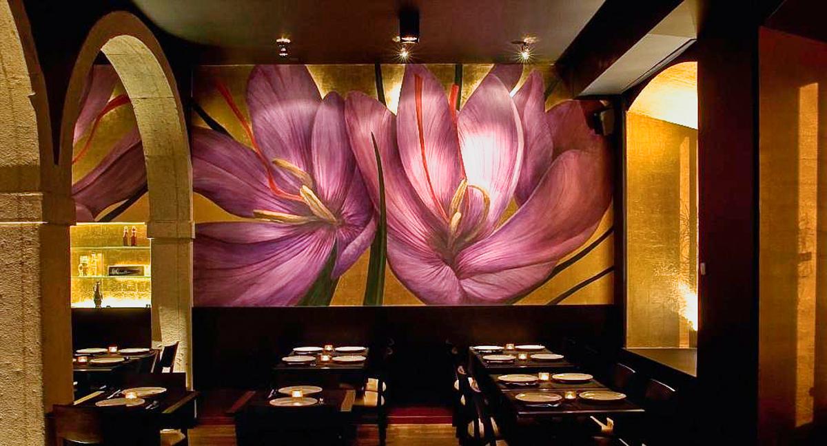"""Restaurant """"Zafferano"""" Lissabon, Gastraum: Vergoldung und Wandmalerei"""